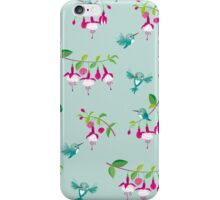 Kawaii Hummingbird fuchsia green pattern iPhone Case/Skin