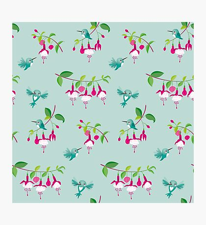 Kawaii Hummingbird fuchsia green pattern Photographic Print