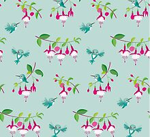 Kawaii Hummingbird fuchsia green pattern by Macy Wong