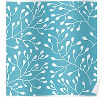 Floral blue and white seamless pattern. Tender twigs Poster