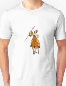 Native American Indian Brave Riding Pony Cartoon T-Shirt