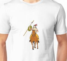 Native American Indian Brave Riding Pony Cartoon Unisex T-Shirt