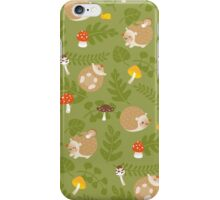 Kawaii Hedgehog green pattern iPhone Case/Skin