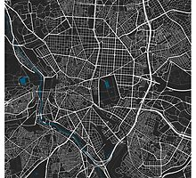 Madrid city map black colour by mmapprints