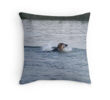 Finally decided she wanted to swim! Throw Pillow