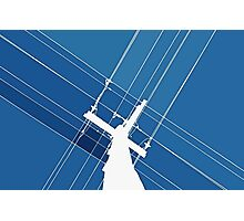 Blue Wires Overhead  Photographic Print