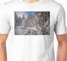 Snow laden trees. Unisex T-Shirt