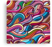 Colorful seamless abstract waves hand-drawn pattern Canvas Print