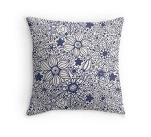 Seamless texture with blue flowers Throw Pillow