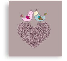 Flowers in the form of a heart and birds.Happy Valentine's. Canvas Print