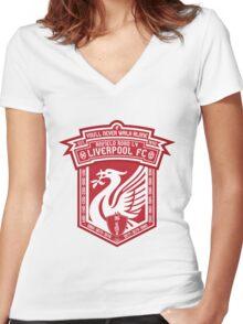 Liverpool FC - Alternate Logo / Badge Women's Fitted V-Neck T-Shirt