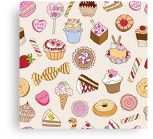 Seamless pattern with sweets Canvas Print