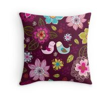 Seamless texture with flowers and birds. Throw Pillow