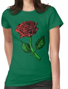 Single Red Rose Womens Fitted T-Shirt