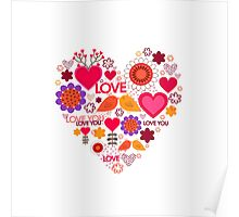 Happy Valentine's Day. Beautiful heart. Love Poster