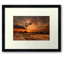 Fiery Sunset over landscape - South Germany Framed Print