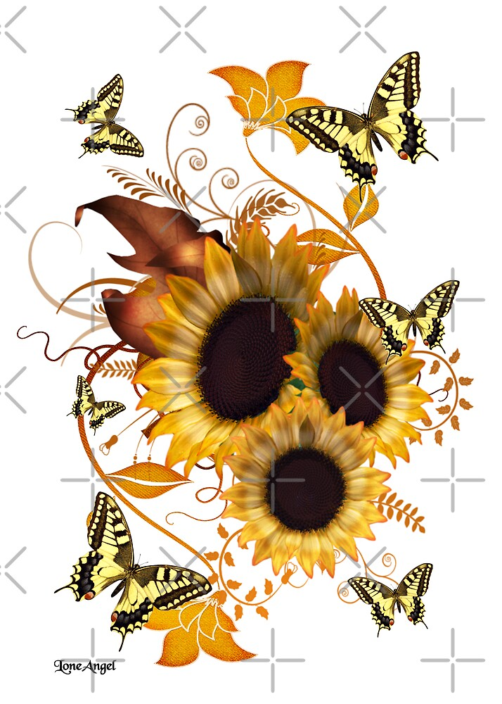 SunFlowers and Butterflies by LoneAngel