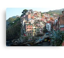 Riomaggorie Harbour-Cinque Terre, Italy Canvas Print