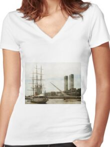 Puerto Madero in Buenos Aires Women's Fitted V-Neck T-Shirt