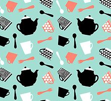 strawberry mint tea time pattern by oleynikka