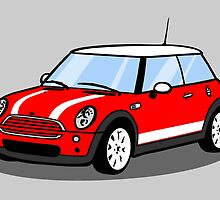 Red Mini with White Stripes by Cameron Porter