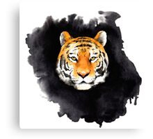 tiger head on black spot Canvas Print