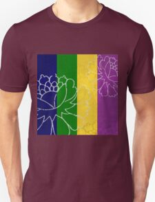 Chinese Flowers & Stripes - Purple Yellow Green Blue Unisex T-Shirt