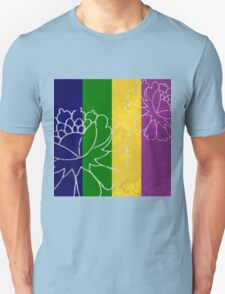 Chinese Flowers & Stripes - Purple Yellow Green Blue T-Shirt