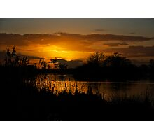 Sunset over the water, opened by David Attenborough  Photographic Print