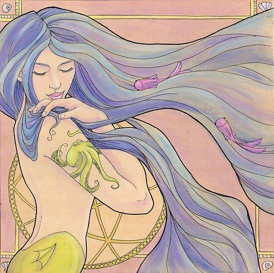 Tattooed Mermaid 1 by Karen  Hallion