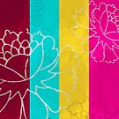 Chinese Flowers & Stripes - Pink Yellow Cyan Red by Katayoonphotos