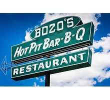 Bozo's Hot Pit Bar-B-Q Sign Photographic Print