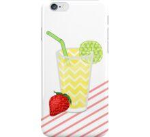 Cute Strawberry Limeade Juicy Drink & Stripes iPhone Case/Skin