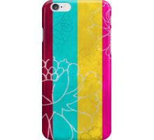 Chinese Flowers & Stripes - Pink Yellow Cyan Red iPhone Case/Skin