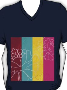Chinese Flowers & Stripes - Pink Yellow Cyan Red T-Shirt