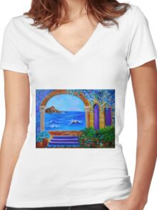 Ocean View Women's Fitted V-Neck T-Shirt