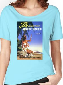 Canada Vintage Travel Poster Restored Women's Relaxed Fit T-Shirt