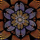 Graphic patterns flower in orange, yellow and purple by walstraasart