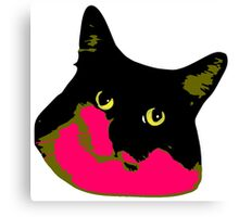 Electric Tuxie Face, Pink/Olive Canvas Print