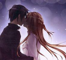 asuna and kirito kiss by waj2000