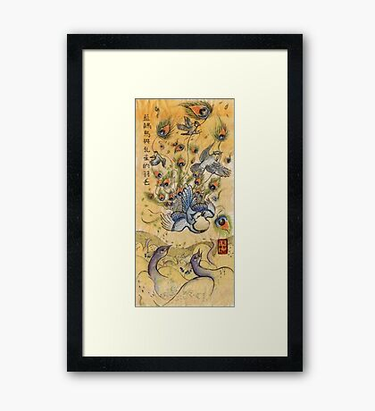 The Blue Jay and the Peacock Feathers Framed Print