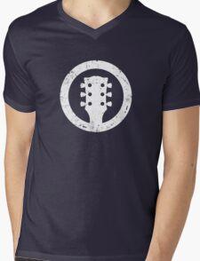 Gibson Les Paul Headstock, White Mens V-Neck T-Shirt
