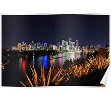 Brisbane River & City At Night. Queensland, Australia. Poster