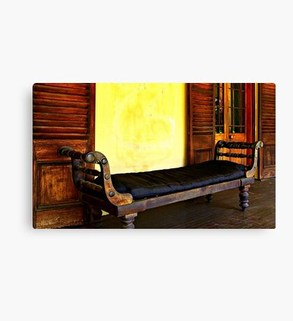 Old Leather Recliner Canvas Print