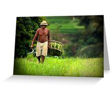 Balinese Rice Farmer Greeting Card