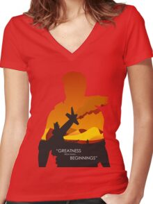 Greatness from small beginnings Women's Fitted V-Neck T-Shirt