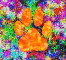 Dog Paw Print Watercolor by Almdrs