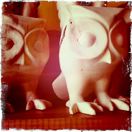 Wooden Owls by Kerryn Benbow