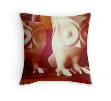 Wooden Owls Throw Pillow
