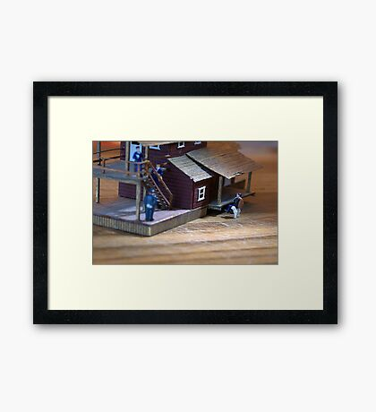 The police unsuccessfully search high and low for the thief; Beau is still on the lam. Framed Print